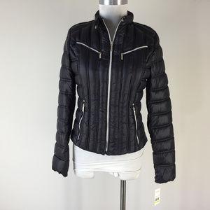 New Laundry Shelli S M Black Puffer Moto Coat